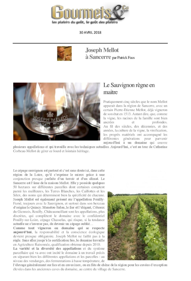 Joseph Mellot - Gourmets & Co Avril 2018